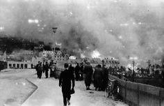 Narvik in flames 1940, ww2 Norway