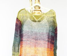 Spring Summer Sweaters for Women, Boho Gift for Grandmother, Long Sleeve See-through Top,  Orange and Teal Psychedelic Color Top