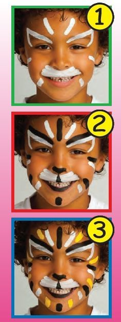 LION face painting for children. To make this LION face painting for kid you need:Various face painting sticks: white, black and . Lion Face Paint Easy, Diy Face Paint, Face Painting Tutorials, Face Painting Designs, Body Painting, Lion Painting, Carnival Crafts, Kids Carnival, Lion Makeup