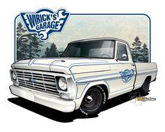 1969 Ford - Vehicle Illustration by SIN Customs artist Ryan Curtis Vintage Trucks, Old Trucks, David Mann Art, Old Pickup, Truck Art, Car Illustration, Car Posters, Car Sketch, Car Drawings