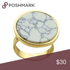 Marble Ring Beautiful statement piece in white marble and gold from boutique designer Wila.  Size 6.5. Perfect accessory to complete look! Wila Jewelry Rings