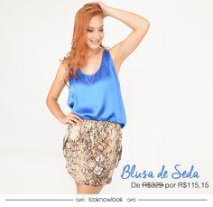 Blusa de seda da Bobstore. Também disponível na cor laranja.  #moda #look #outfit #ootd #bobstore #spezzato #azul #animalprint #getthelook #estilo #shop #lojaonline #ecommerce #lnl #looknowlook