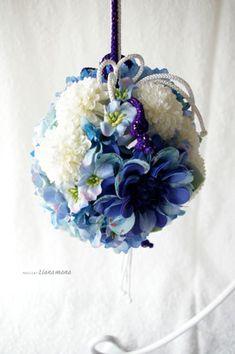 アートフラワー <青い和装ボールブーケ> | ウェディングフラワー ... 青系のお着物に併せても。