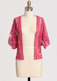 """Delicate Bloom Lace Jacket 42.99 at shopruche.com. Romantic and vintage-inspired, this sheer magenta lace jacket stars delicate floral embroidery, scalloped hems, and dolman sleeves.Shell: 100% Nylon, Embroidery: 100% Cotton, Imported, 20.5"""" length from top of shoulders"""