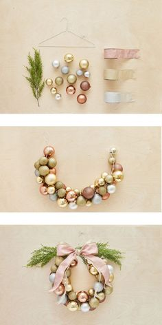 How to create a Christmas ball wreath in less than an hour / Comment faire une c. - How to create a Christmas ball wreath in less than an hour / Comment faire une couronne de boules e - All Things Christmas, Christmas Holidays, Christmas Ornaments, Cheap Christmas Decorations, Christmas Wood, Homemade Christmas Wreaths, Wood Decorations, Christmas Recipes, Ornaments Ideas