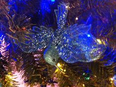 Blue glitter hummingbird tree decoration