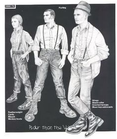 """From Nick Knight's book """"Skinhead"""".style section by Jim Ferguson (as scanned) first skinheads were technically around during . Chica Skinhead, Skinhead Men, Skinhead Fashion, Skinhead Style, Skinhead Clothing, Dr. Martens, Ska Music, Youth Subcultures, Skin Head"""