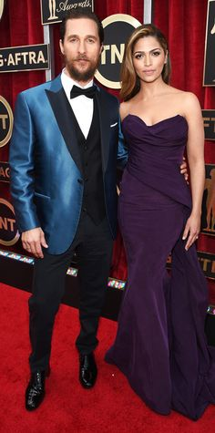 SAG Awards 2015: Matthew McConaughey in a cerulean and black tuxedo and Camila Alves in a sleeveless purple gown.