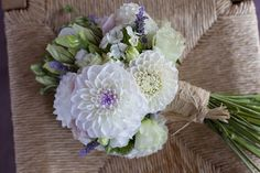 Love this gorgeous bouquet of dahlias, lisanthus, roses and lavender