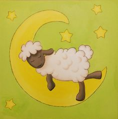 Kids room art canvas. Sheep themed baby room.