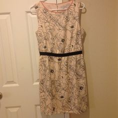 LOFT Blush Floral Dress NWT. LOFT Blush with black floral design. Key hold on back at neck. LOFT Dresses
