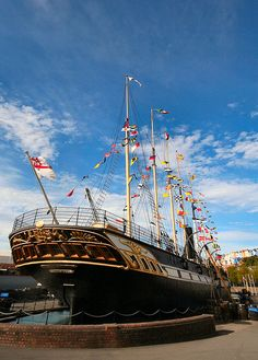 "SS ""Great Britain"". The first transatlantic ship with an iron hull built by the great Isambard Kingdom Brunel. Can be seen at Bristol Docks"