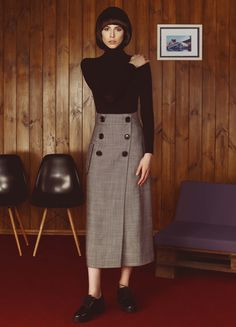 Herringbone Buttoned Skirt | Flow | NOT JUST A LABEL