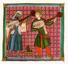 En la siguiente imagen podemos observar a dos juglares o trovadores cantando una de sus cancioncillas ( jarchas o moaxajas)