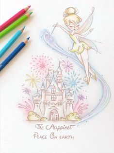 Disney castle, Tinkerbell art print, home decor, disney print, happiest place Informations About Dis Art Disney, Disney Artwork, Disney Kunst, Disney Crayon Art, Cute Disney Drawings, Cute Drawings, Disney Tattoos, Disney Castle Drawing, Disney Castle Tattoo