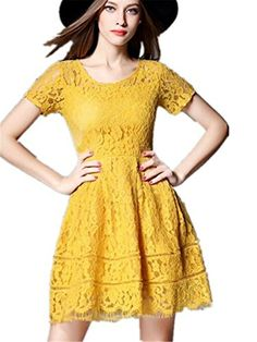 Bluewolfsea Women's Round Neck Long Sleeve Floral Lace A-line Slim Dress