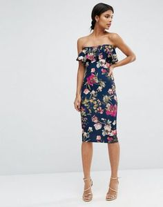 18f169a036 ASOS Ruffle Print Bandeau Midi Dress at asos.com
