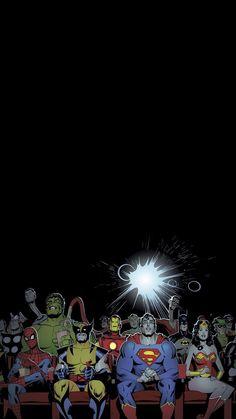 Marvel and DC comics wallpaper iphone 6 spider man thor super man batman