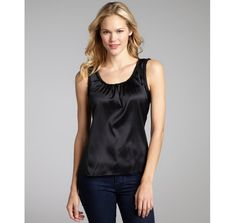 Elie Tahari black stretch silk woven ruffle trim 'Celeste' sleeveless blouse