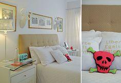 A sala da estilista Patrícia Grejanin é um exemplo de personalidade. A composição criativa de quadros combina com os outros objetos da moradora, como a caveira sentada no sofá