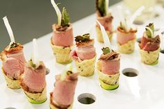Confit of duck with houssin sauce and savoury cornet canape