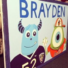 Painted this for a special little baby boy whose parents obviously love Baltimore sports!