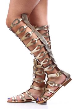 GOLD FAUX LEATHER STRAPPY KNEE HIGH GLADIATOR SANDALS,Womens Sandals-Cute Sandals,Sexy Sandals,Cheap Flat Sandal,Thong Sandals Shoes,Gladiat...