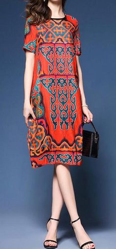 Women loose fit retro ethnic flower dress silk tunic fashion trendy party chic #unbranded