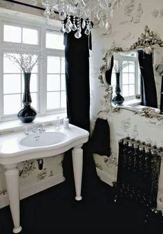 Amazing 22 Dramatic Gothic Bathroom Designs Ideas : Amazing 22 Dramatic Gothic Bathroom Designs With White Black Washbasin Mirror Chandelier...