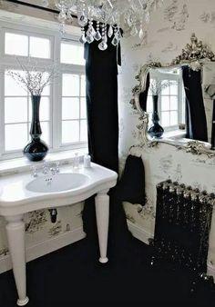 gotik banyo dekorasyonu siyah koyu renk banyolar dramatik (2)