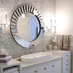 Digital Art Gallery Sarah Richardson Design Chic modern master bathroom design with white gray blue