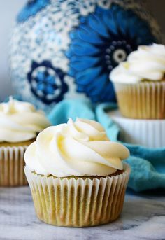 Green Tea Cupcake with Lychee Frosting | Sprig and Flours . . . the Lychee frosting sounds so good!