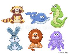 Cute cartoon animals isolated on white background. Stuffed toys set. Vector illustration of adorable plush baby animals. Raccoon, whale, snake, bunny, lion, jellyfish.
