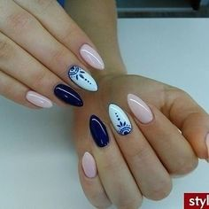 Nail art Christmas - the festive spirit on the nails. Over 70 creative ideas and tutorials - My Nails Navy Nails, Blue Acrylic Nails, Acrylic Nail Designs, Pink Nails, Nail Art Designs, Navy Nail Designs, Blue Nails With Design, Nail Designs Spring, Perfect Nails