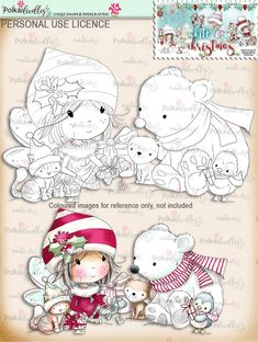 Time to Give - Digital Stamp download - Winnie White Christmas printables