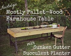 mostly pallet wood farmhouse table with gutter succulent planter diy flowers gardening how to outdoor furniture outdoor living painted furniture pallet repurposing upcycling succulents woodworking projects Painted Farmhouse Table, Outdoor Farmhouse Table, Farmhouse Style Coffee Table, Rustic Outdoor, Outdoor Pallet, Farmhouse Ideas, Succulent Planter Diy, Diy Planters, Succulents
