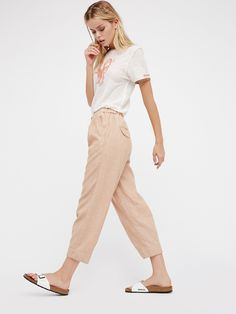 Free People Everyday Chambray Pull-On Pants | Casual slouchy pants in a high rise. Throw on with a tee and sandals and you're done