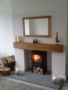 Celtic Timber Solid French Oak Beam Floating Shelf Mantle Piece Fire Place Surround Inglenook Beam Size: 6 x 6 Air Dried Length: 4 foot Finish: Planed & Sanded Appearance: Contemporary Log Burner Living Room, Living Room With Fireplace, New Living Room, Cottage Living, Home And Living, Wood Burner Fireplace, Inglenook Fireplace, Fireplace Shelves, Fireplace Mantle