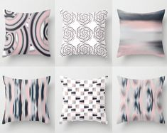 Throw Pillow Covers, Bush Pink Navy, Grey White, Home Decor, Decorative Pillow Covers, Pink Blue Grey