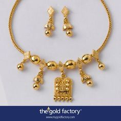 A rare, strung form of neckwear that has a distinctly tribal feel to it, this lovely ornament uses a talismanic centrepiece and high-polished oversized spheres to great effect ; chhela half-jhumkas flank the main pendant and are further reduced towards the sides; the hand-struck barfis make an eye-catching pattern with the spheres. Yet, the whole set---- including the matching half-jhumkas ---- is very light, though entirely crafted in 22K hallmarked gold.