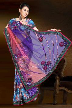 $58.88 Multi Color Faux Georgette,Net Festival Saree 13002 With Unstitched Blouse