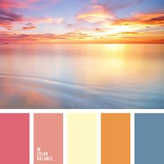 Delicate pastel shades of this color palette suit well the decoration of a room for a girl. Colour Pallette, Color Palate, Colour Schemes, Color Patterns, Color Combinations, Color Concept, Sunset Colors, Pink Sunset, Colour Board
