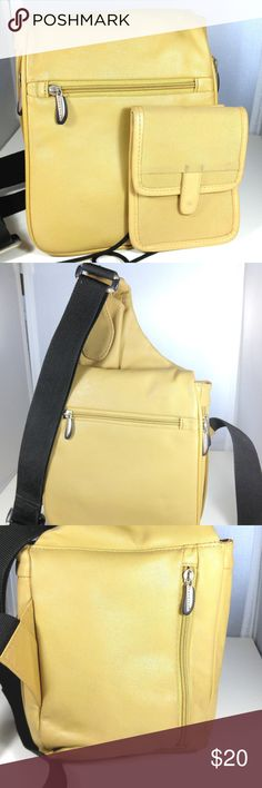 """Travelon Yellow Leather Crossbody Messenger Bag Travelon Yellow Leather Purse Expandable Crossbody Messenger Shoulder Handbag Length 8 inches at widest section - Height 8 1/4 inches high - and an additional 5 inches more to the strap (the small section right at the strap)The depth of the bag is 3"""" to 4"""" (this is the zippered adjustable area) Soft yellow leather Travelon messenger/crossbody bag with a small passport/money wallet with shoulder strap that fits inside the bag. Zipper expands the…"""