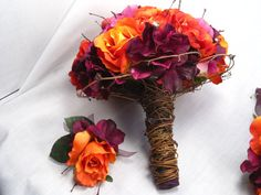 Hand Tied Orange Rose, Ranunculus and Purple Hydrangea Bridal Bouquet and Boutonniere Set