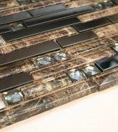 Black Stainless Steel (Brick Pattern) + Black Glass (Diamond Shape Glass) + Brown Glass Mosaic Tile