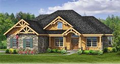 This 3 bedroom house plan has a split bedroom layout and a rugged rustic exterior of stone with wood and great decorative brackets.The front door is centered on the front porch and you are greeted with views through to the back of the home as you step inside.The great room has a fireplace and built-ins and access to the rear covered porch - great for an outdoor living room weather permitting - on the angled wall. It is also open to the kitchen and breakfast area.The master suite is secluded…