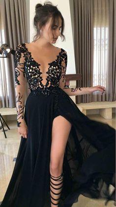 Long Sleeve Evening Dresses, Prom Dresses Long With Sleeves, Black Evening Dresses, Black Wedding Dresses, Dress Long, Evening Gowns, Prom Dresses 2017, A Line Prom Dresses, Prom Dresses Online