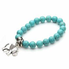 Turquoise Bead Elephant Charm Bracelets