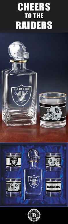 Raise a game-day toast with the Oakland Raiders Decanter Set. This officially-licensed NFL barware set includes a crystal-clear decanter with a custom helmet topper and team logo, 4 team icon glasses rimmed in gleaming 12K gold and a satin-lined gift box.