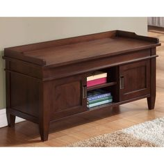 Richland Collection Dark Tobacco Brown Entryway Storage Bench - Overstock™ Shopping - Great Deals on WyndenHall Benches